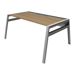 Turnstone - Bivi Table - The Bivi Table is a well-designed, modern desk that can easily be added onto with a multitude of accessories and additional desks. Part of the Bivi desking system, the Bivi Table is made from MDF and powder-coated steel and features a trough for cord control and optional power supply.