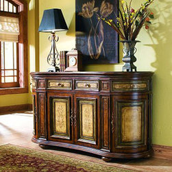 "Hooker Furniture - Hooker Furniture Aura Credenza 761-85-122 - This shaped credenza features a ""Vineyard"" color palette for a subtle European two-tone effect."