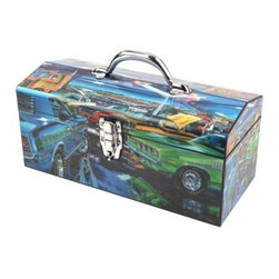 Sainty International 24-039 Art Deco Feeding Frenzy Tool Box - You can tool away at your ride in style with the Sainty International 24-039 Art Deco Feeding Frenzy Tool Box by your side. This all-steel tool box features a stunning muscle car motif made to last with a rust-resistant, powder-coat finish. To keep your mind at ease and tools secure, it can be locked tight with its lockable latch and steel hinges.About Jiangsu Sainty Sumex Tools Corporation, LTD Touted as the only innovative foreign trade enterprise in Jiangsu province, China, Sainty Tools takes their tools seriously. In 2012 alone they exported their proprietary brands and patented products to over 60 countries and regions around the world. Dealing in hand tools, hardware, power tools, garden tools, and more, Sainty Tools has close relationships with over 400 domestic factories to handle their busy output. Quality is key to their rapid and sustainable growth as research and development of new products strengthens the core of their business.