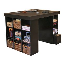 Venture Horizon - Project Center With 1 Bookcase & 3 Bin Cabinet - Black - Every home has it's hub. A central location for family projects or individual activities. Key to it's usefulness and enjoyment is the furniture being used. Is it functional, versatile, scalable, and good looking? Will it organize and store all my required materials efficiently and close at hand? Our unique, all-in-one PROJECTCENTER sets a new standard in organizational furniture. Not only will it dramatically increase everyone's productivity but do it in style to boot.