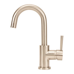 Fontaine - Fontaine Euro Brushed Nickel Bathroom Sink Faucet - Less is more when you upgrade your home with the modern style of the Euro bathroom sink faucet. Graced with straight-forward shapes,clean lines,and a high arc spout,this centerset faucet instantly enhances any modern bathroom.