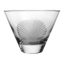 Rolf Glass - Seashell Martini Glass, Clear, 3.375x4.625, Tumbler - If you have ever found a seashell on a beach, you know the pleasure of such natural perfection. Our scallop shell engraved on lead free crystal-glass turns up the charm on any evening. Reminiscent of longs walks on deserted sand, these classic elegant designs have the power to transport you far away from ordinary.  Made in USA.