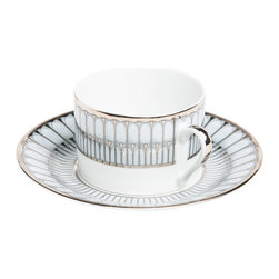 Deshoulieres - Arcades Grey Platinum Tea Cup and Saucer - The interweaving of grey and platinum embodies the elegance of a Florentine palace. This cup and saucer will take any table from ordinary to extraordinary.