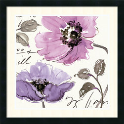 Amanti Art - Floral Waltz Plum I Framed Print by Pela Studio - This playful purple floral watercolor study by Pela Studio will whisk away your decor doldrums.
