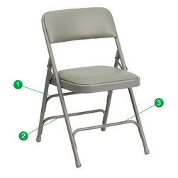 Flash Furniture - Flash Furniture Hercules Series Gray Vinyl Upholstered Metal Folding Chair - The Triple Braced Hercules Series Folding Chairs are our best folding chairs ever. When in need of temporary seating this heavy duty gray metal frame chair with gray vinyl padded seat and back is perfect. This portable folding chair can be used for Parties, Graduations, Sporting Events, School Functions and in the Classroom. This chair will be the perfect addition in the home when in need of extra seating to accommodate guests. The chair will not take up anywhere near as much space as chairs that cannot fold when it comes time to clean up. This economically priced chair will endure some heavy usage with an 18-gauge steel frame, triple braced and leg strengthening support bars.