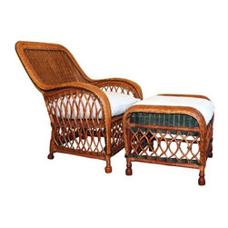 Palecek - Pre-owned Palecek Wicker Chair and Ottoman - A cozy Palecek wicker chair and ottoman set - similar to the Bar Harbor collection, but with more detail in the woven arms.   The pitch of the seat and back is ideal for relaxing, and it has two loose, comfortable neutral colored cushions which have been professionally cleaned. The matching ottoman differs only by the green shade on the sides.    The seating area is 23 inches deep and the set weights about 45 pounds. There is some wear on the front arm, as shown in the images, and one area of loose wicker on one side of the ottoman.    Please contact at support@chairish.com for local delivery options. Seller is willing to delivery within 50 miles of Ridgefield, WA 98642.