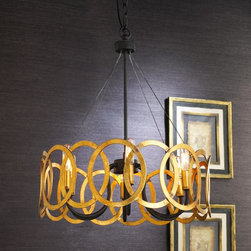 Interlocking Circles Chandelier, Antique Gold - I love the contrast of the eye-catching gold against the black iron on this lovely chandelier.