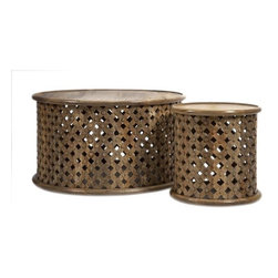 iMax - Abdalla Carved Wooden Tables, Set of 2 - The Abdalla Coffee Table and end table feature a hand carved lattice pattern and rich, natural tones.