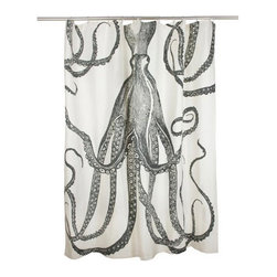 Thomaspaul Octopus Shower Curtain - An octopus fits in perfectly in a kids' bathroom. Plus, this design is gender neutral. I also like that it isn't too juvenile, so the kids won't outgrow it quickly.