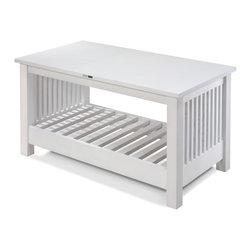 Coffey - angle view - A traditional mission style furniture piece blended with contemporary and coastal design.