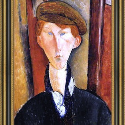 """Art MegaMart - Amedeo Modigliani Young Man with Cap - 16"""" x 24"""" Framed Premium Canvas Print - 16"""" x 24"""" Amedeo Modigliani Young Man with Cap framed premium canvas print reproduced to meet museum quality standards. Our Museum quality canvas prints are produced using high-precision print technology for a more accurate reproduction printed on high quality canvas with fade-resistant, archival inks. Our progressive business model allows us to offer works of art to you at the best wholesale pricing, significantly less than art gallery prices, affordable to all. This artwork is hand stretched onto wooden stretcher bars, then mounted into our 3 3/4"""" wide gold finish frame with black panel by one of our expert framers. Our framed canvas print comes with hardware, ready to hang on your wall.  We present a comprehensive collection of exceptional canvas art reproductions by Amedeo Modigliani."""