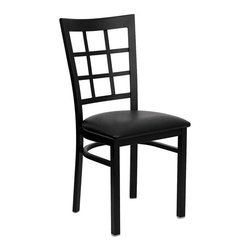 Flash Furniture - Flash Furniture Hercules Series Window Back Metal Chair in Black - Flash Furniture - Dining Chairs - XUDG6Q3BWINBLKVGG - Provide your customers with the ultimate dining experience by offering great food service and attractive furnishings. This heavy duty commercial metal chair is ideal for Restaurants Hotels Bars Lounges and in the Home. Whether you are setting up a new facility or in need of a upgrade this attractive chair will complement any environment. This metal chair is lightweight and will make it easy to move around. For added comfort this chair is comfortably padded in vinyl upholstery. This easy to clean chair will complement any environment to fill the void in your decor. [XU-DG6Q3BWIN-BLKV-GG]