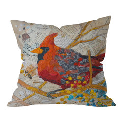 DENY Designs - Elizabeth St Hilaire Nelson Cardinal On White Outdoor Throw Pillow, 26x26x7 - Do you hear that noise? It's your outdoor area begging for a facelift and what better way to turn up the chic than with our outdoor throw pillow collection? Made from water and mildew proof woven polyester, our indoor/outdoor throw pillow is the perfect way to add some vibrance and character to your boring outdoor furniture while giving the rain a run for It's money.