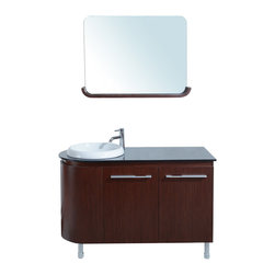 "Stufurhome - 47"" Arturo Single Sink Vanity with Glass Top - Double bathroom vanity"