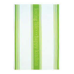 MU Kitchen Loving Life Towel, Green - New designer cotton towels from MU!  Loving life, happy kitchen.  These designer cotton jacquard weave towels come in 5 fun colors to dress up your kitchen.  100% cottonProduct Features                      100% cotton          Fun prints match any decor