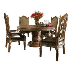 "AICO Furniture - ""Michael Amini"" Villa Valencia 5PC Dining Set - Dining Set includes Round dining Table and 4 Arm chairs."