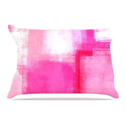 "Kess InHouse - CarolLynn Tice ""Running Late"" Pink White Pillow Case, King (36"" x 20"") - This pillowcase, is just as bunny soft as the Kess InHouse duvet. It's made of microfiber velvety fleece. This machine washable fleece pillow case is the perfect accent to any duvet. Be your Bed's Curator."