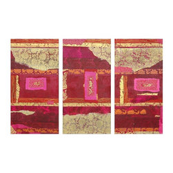 Oriental Furniture - Avant-Garde Collage Canvas Wall Art (Set of 3) - Contemporary triptych with an elegantly crafted collage art design. Original is composed of textured art paper, onion skin, printed tissue, and parchment, with contrasting linear and torn edges. Features shades of rose, pink, and deep vermillion, with variations of rust, sand, tan, and ivory, subtle floral prints, and abstract designs. Collage is photographed, then printed on high quality canvas using the latest ink jet technology for an accurate recreation.
