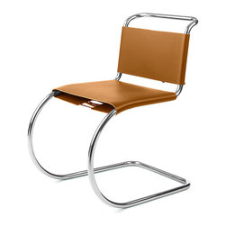 Knoll - MR Side Chair - Oh, those roaring 1920's! We've been disarmed by the sleek look and unexpected balance and comfort of the cantilevered chair ever since. Smaller in size, this tubular steel side chair comes with a luxe, caramel-colored leather sling back and seat, stylishly sidestepping the conventional all the way to your modern dining room.