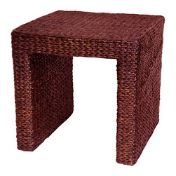 """Oriental Furniture - Rush Grass End Table - Red Brown - There's a growing trend in American home decor toward the eclectic, unique, and exotic. These amazingly affordable rush grass end tables seem to have caught that wave. Elegant and simple, crafted from ecologically sustainable woven rush grass on kiln dried wooden framing. The beauty and simplicity of the design, as well as the soft, Earthy look and feel of rush grass itself, have helped make these little tables quite popular. The height is right for a lamp next to a sofa or easy chair, and the rustic finish does not scratch or dent as easily as wood furniture. The term """"shabby chic"""" is sometimes used for natural fiber furnishings, and we think it makes sense for these low cost, high quality end tables."""