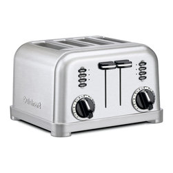Cuisinart - Cuisinart CPT-180 Stainless Steel 4-slice Toaster - This four-slice stainless-steel toaster from Cuisinart features six settings to make your toast just the way you like it. A slide-out crumb tray makes the toaster easy to clean. LED indicators are included on the bagel,defrost,and reheat buttons.