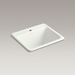 KOHLER - KOHLER Glen Falls(TM) top-mount utility sink with single faucet hole - The Glen Falls utility sink offers traditional styling with a deep basin that can accommodate heavy-duty tasks in the garage, utility room, or laundry area. Crafted from enameled cast iron, this sink resists scratching, burning, and staining for years of beauty and reliable performance. Available in an array of colors to match any bathroom decor.