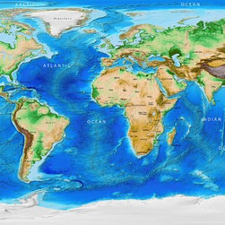 Global Topography & Bathymetry  Wall Mural - Labels and Borders, Peel & Stick - This incredibly detailed image of the Earth's topography and bathymetry is derived from numerous global and regional data sets, compiled by the National  Geophysical Data Center. Though the map is printed on flat media with no raised  relief, a visual relief effect is created by the use of shaded relief to portray  the Earth's 3D surface. All countries are labeled on the map and political  boundaries outlined in red.