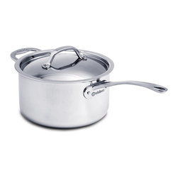 Cuisinox - Cuisinox Elite 3.8 qt Covered Saucepan - The high luster mirror finish combined with the arched top lid gives this saucepan its unique look and style. Stainless steel rivets permanently attach our cast stainless steel handles. A pure 18/10 stainless steel assures long-lasting brilliance and easy maintenance. Our 3-ply Surround-Heat technology distributes heat evenly and efficiently.