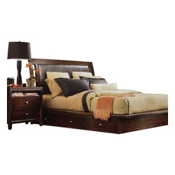 American Drew - American Drew Tribecca 3-Piece Platform Bedroom Set in Root Beer Color - The Tribecca mixes it up with modern, Art Deco, and Asian influences. Lighter scaled, with classic clean lines and pared down forms, Tribecca's inviting textures, rich wood tones and nickel finish hardware could be just the fresh look you've been trying to imagine for the new retirement condo on the shore or a trendy city loft.
