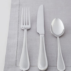 "Reed & Barton - Reed & Barton Five-Piece ""Hampshire"" Matte Flatware Place Setting - Charming flatware features an intricate ribbon motif along the handles finished with a petite flourish and a matte-finish center panel. The pieces never need polishing and move seamlessly from casual to formal settings. Made of 18/10 stainless steel. ...."