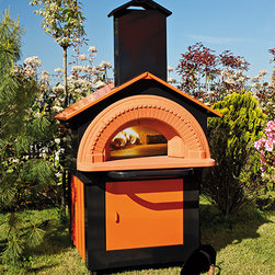 """Pizza Ovens - Wood Burning brick hearth Pizza Oven hand crafted in Italy. The Forno Fiesta measures 82.5"""" H x 46"""" W x 65"""" D. Complete with wheels for easy maneuvering. In stock available to ship anywhere in the United States."""