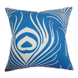 "The Pillow Collection - Lamassa Peacock Pillow Peacock - This peacock throw pillow features a classic peacock print with a modern twist. This home accessory is a definite must-have with its eye-catching and inviting design. This decor pillow is perfect for your sofa, sectionals, nooks and chairs. This 18"" pillow adds comfort and style with its peacock blue and white color palette. This down-filled pillow is made from 100% high-quality cotton fabric. Hidden zipper closure for easy cover removal.  Knife edge finish on all four sides.  Reversible pillow with the same fabric on the back side.  Spot cleaning suggested."
