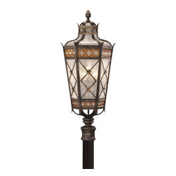 Fine Art Lamps - Chateau Outdoor Outdoor Post Mount, 541680ST - Let this outdoor fixture, inspired by a French château, guide and welcome guests to your door. It's crafted of antiqued glass and solid brass with a variegated umber patina.