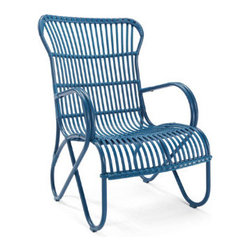 Grandin Road - Rizza Outdoor Chair - Retro-modern outdoor furniture. Crafted in the style of traditional rattan, with all-weather durability. Extra deep, contoured seats. Contoured ottoman, for complete lounging. Glass-topped outdoor accent table with a lower shelf. Enjoy your day in the sun, lounging in the deep, contoured seat and bold, colorful design of our modern and retro version of traditional rattan: the Rizza outdoor furniture collection. Each piece is made in the fashion of old-world rattan classics, but is crafted from all-weather aluminum that's sculpted and wrapped with colorful resin so it's made to live outdoors for seasons to come. Chair and loveseat are spacious and deep, ottoman is perfectly contoured for a full lounging experience, and the glass top and lower shelf of each table keep drinks and reading materials at arm's length. Select your favorite color and get ready for a stylish season of lounging on the porch or patio.  .  .  .  .  . Frames made from colorfully powdercoated, all-weather aluminum . Seats and seat backs sculpted from colorful resin strips and strands . Coordinates perfectly with the Rizza Outdoor Sectional .