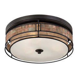"""Quoizel Laguna 3-Light Outdoor Flush Mount in Bronze Finish - This mica piece is an addition to the Quoizel Naturals collection and features a mosaic tile stripe, which appears to be floating around a taupe mica shade. The tiles have a coppery shimmer for an added touch of elegance. It provides a warm and inviting accent for most any home. Dimensions: 5 1/2"""" High, 16"""" in Diameter."""