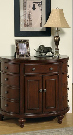 Coaster - Walnut Transitional Bombe Chest - With one drawer and six door cabinets in a medium brown finish.