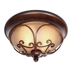 Golden Lighting - Loretto Flushmount Light - Encircle your favorite sanctuary with this flushmount light. Bronzed and antique-finished with fluid, organic arms encompass the warmth. Instant ambience.