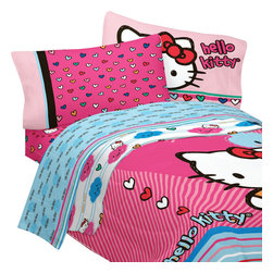 Store51 LLC - Hello Kitty Twin Bedding Colorful Hearts Comforter Sheets - Features: