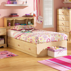 "South Shore - Lily Rose Twin Mates Bed - The Lily Rose Mates Bed and Bookcase Headboard is constructed of a durable particleboard with romantic pine finish. It is a great addition to the décor of your little girls bedroom with flower accents. Also its three deep storage drawers, located conveniently beneath the bed, makes this design both attractive and functional. The Lily Rose Collection is a perfect fit for any fine young lady. South Shore's stylish and family-friendly furniture is made of laminated engineered wood, which gives it great strength and durability. They use wood panels entirely made from recovered and recycled material. While they do their share to preserve the environment by conserving our forests, South Shore Industries makes no compromise when it comes to quality and product durability. These quality products are designed for easy maintenance and offered at very competitive prices. Features: -Three-drawer bed box unit and headboard. -Constructed of particleboard with a laminate finish. -Comes in Romantic Pine finish. -Sintec drawer glides. -Ships ready - to - assemble. -5 - year manufacturer's limited warranty. -Mates Bed Dimensions: 14"" H x 77"" W x 41"" D. -Headboard Dimensions: 37"" H x 43"" W x 10"" D. About South Shore Industries: South Shore Industries Ltd. brings over 65 years experience to the manufacturing of its furniture products and boasts a highly skilled production team with an eye for detail. A recognized leader in North American furniture manufacture, South Shore Industries was established in 1940 and has been making furniture for three generations. Employing a team of over 1000 employees in three factories in Quebec, their assembled and ready-to-assemble furniture has a reputation for quality and excellence at affordable prices for today's family. Protecting our Environment for Generations to Come! South Shore Furniture is proudly taking a stand on its environmental positioning and is supporting its words with very concrete actions and a vision for a healthy future. Current actions include: -Improved packaging  Our new packaging use 60% less non-biodegradable materials. -Energy efficiency  Yearly, 5 to 6 tons of wasted paneling are converted into energy used internally. -Environmentally Preferable Product (EPP) certification Already meeting the very strict 2009 California Formaldehyde Regulations. -Greener communication tools  Reduced format on recycled paper and conversion to electronic format. -A Green Future in mind: a member of the Composite Panel Association whose mission is to work towards more ecological and environment-friendly panel solutions."
