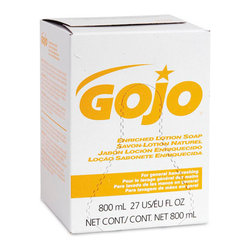 GO-JO INDUSTRIES - C-ENRICHED LOTION SOAP   12/800ML - 800-ml bag-in-box system. Uses sanitary-sealed, 800-ml bag-in-box refills. Dispensers covered by manufacturer's lifetime guarantee.. Gentle, concentrated lotion soap with moisturizers. For general restroom use. Gold, natural formula. Packaging contains 65% to 86% less plastic than comparable size plastic bottles. Box made from 90% recycled materials; 35% post-consumer recycled content. USDA BioPreferredSM. Pleasant, light fragrance. 800-ml refill. 12 refills per case.. . . . . 12 Refills per Case. 800-ml Refill. GOJO Enriched Lotion Soap. Dimensions: Height: 0.04167, Length: 0.10833, Width: 0.075. Country of Origin: US