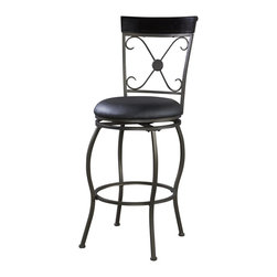Linon Home Decor - Linon Home Decor BASQUE STOOL X-U-DK-10-LTM97230 - The modern, unique style of the Adjustable Basque Stool will add eyecatching style to your kitchen, dining, or home pub area.  Crafted of sturdy metal and highlighted with subtle curves and a distinctive back, this stool is a positively striking addition to your home.  The cushion is piled high for extra comfort and covered in a dark brown vinyl.  This stool is elegant and versatile making it the perfect choice for any gathering area. 275 pound weight limit.