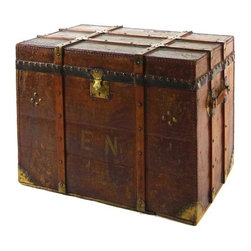 "Wooden Trunk With Initials ""EN"" - It's hard to imagine that people ever travelled in this manner, but, oh how chic! Well, you may not want to pack it up and travel with it but surely you will want to fill it with blankets or trinkets and use it as a coffee table or bedside stand."