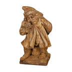 """Lamps Plus - Country - Cottage Henri Studio Gnome of Pity Cast Stone Garden Accent - This whimsical garden gnome offers a delightful conversation piece for garden and patio spaces. From the artisan craftsman at Henri Studios the cast stone piece depicts a sad-faced gnome contemplating a flower. Each stone sculpture is made to order; allow extra time for delivery. Since each is custom made there may be slight finish variations. Please note that this sculpture ships for free but because of its size and weight it may require freight curbside delivery. Relic lava finish. Cast stone construction. 12"""" wide. 24"""" high.  Garden gnome sculpture.  Relic lava finish.  Cast stone construction.  Custom made to order; please allow extra time for delivery.  Hand-made in the USA.  Due to its natural components variations in color and texture will occur.  From Henri Studio.  24"""" high.  12"""" wide."""