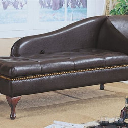 Monarch Specialties - Storage Chaise Lounge - Traditional style. Brass look nailhead trim. Uniquely shaped back. Rolled armrest. Flip top seat. Built-in storage space beneath seat. Plush tufted button. Cabriole style legs in rich cherry finish. Made from faux leather. Brown color. 62 in. L x 25 in. D x 30 in. H (96.8 lbs.)