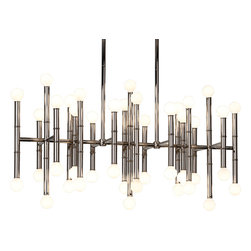 Robert Abbey - Jonathan Adler Meurice Chandelier, Polished Nickel - Now here's a bright idea for your dining area. Metal rods are fitted with exposed light bulbs on each end for a fixture that's positively illuminating.