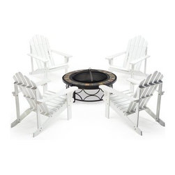 Coral Coast White Adirondack Fire Pit Chat Set - The Coral Coast White Adirondack Fire Pit Chat Set adds welcoming style to any setting. Sink deep into conversation around this chat set featuring two chairs and one fire pit. Solid acacia comprises each chair, ensuring that these seating options resist weather wear and will endure years of use. A classic white hue, comfort back design, and wide armrests add comfortable character that transcends decor trends and expertly complements the accompanying fire pit.Stone and tile outer rim accents are a magnificent contrast to the fire pit's antique bronze finish. It's a hot addition to your outer gathering spot, supported with an ornate steel frame, topped off with a domed spark screen and log rack.About Coral CoastWhat if when you closed your eyes you pictured yourself in your own backyard? Coral Coast has a collection of easygoing affordable outdoor accessories for your patio pool or backyard. The latest colors and styles mingle with true classics in weather-worthy fabrics and finished woods ready for relaxation. Make yours a life of leisure.