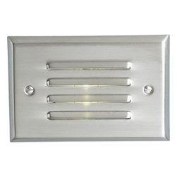 "Progress - Progress-P6827-09-LED Step Light - FaceplateHeavy steel constructionOne piece horizontal louverBrushed Nickel (-09) is plated, White(-30) is powder coated paint LampingLED (Light Emitting Diode) Lamp included80 CRI2700K color temperature (2750K �75K)30,000+ hrs lifeLamp contains no mercury, meets Calif. Title 22ElectricalIntegral driver, Class 2, non-dimmable120v 60Hz inputConsumes 5 watts MountingHorizontal mounting on a single gang recessed wall box (2-1/4"" min. clearance)Either standard metal or plastic wall box can be used  LED-StepLight"