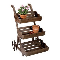French Country Plant Stand - I like this rustic look, but I'd probably add some white distressing to it. A nice way to display plants or to store your herb garden indoors.
