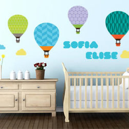 Kids and Nursery wall decals - A colorful design to turn your nursery into a cute and stimulating environment for your baby. These hot air balloons can be placed individually and spread around in any fashion you wish.
