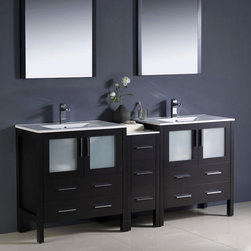 "Fresca - Fresca Torino 72 Espresso Double Sink Vanity w/ Side Cabinet & Sinks - You'll have ample storage in your bathroom with this contemporary Torino vanity unit. The dark Espresso colour will make a stunning feature, that's also practical. The vanity includes two integrated sinks and matching side cabinets, plus additional storage in the shape of three central drawers.  Torino Bathroom Vanity Details:   Dimensions: Vanity: 72""W x 18 1/8D x 33 3/4H, Side Cabinet: 12""W x 17.75""D x 31.36""H Material: Plywood with Veneer, integrated ceramic sinks Finish: Espresso Please note: faucets not included"